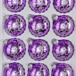 Hochglanz Lila Silberne Ornamente