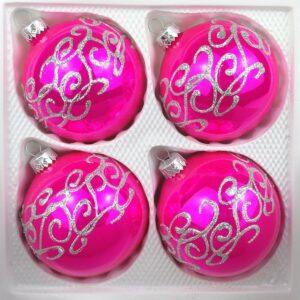 Hochglanz Pink Siberne Ornamente