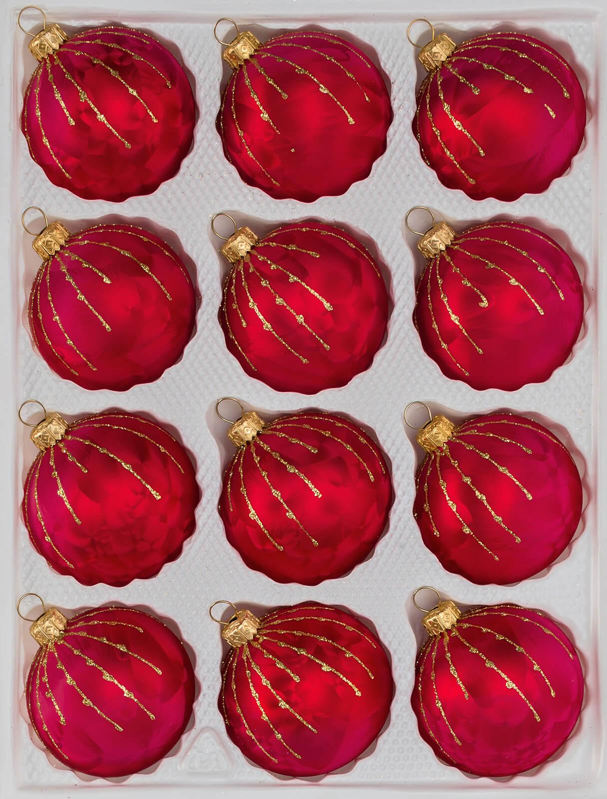 Christbaumkugeln Set Rot.12 Tlg Glas Weihnachtskugeln Set In Ice Rot Gold Regen