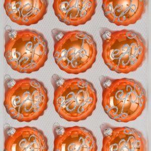 Hochglanz Orange Silberne Ornamente