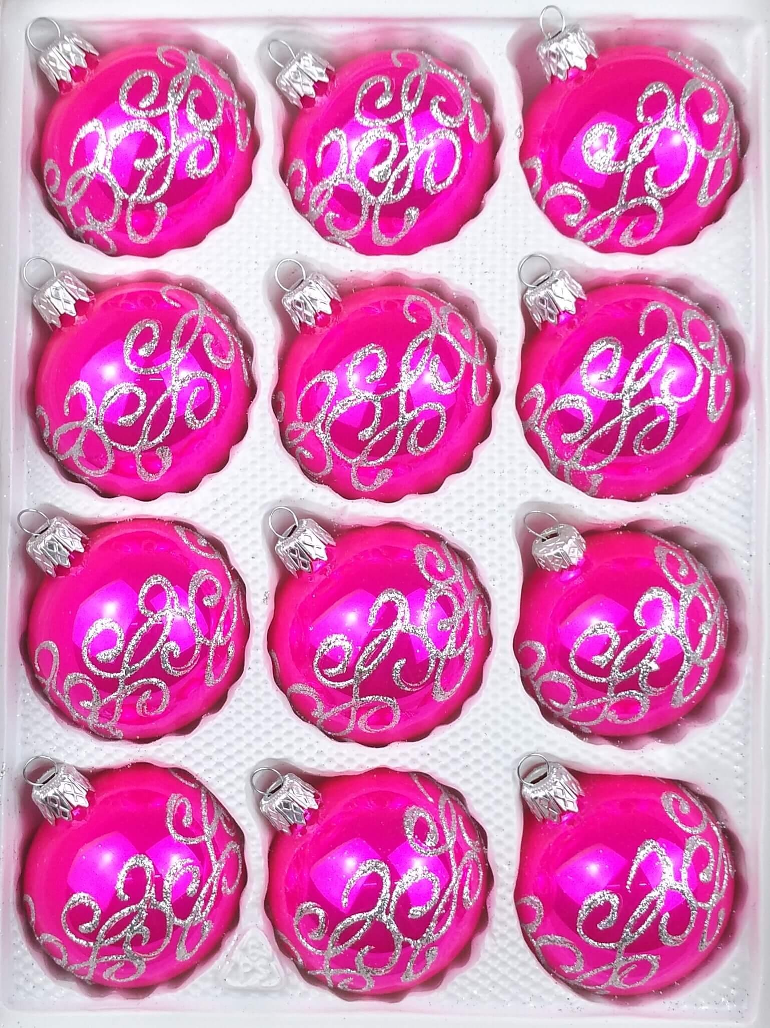 Weihnachtskugeln Pink.12 Tlg Glas Weihnachtskugeln Set In Hochglanz Pink Silberne Ornamente