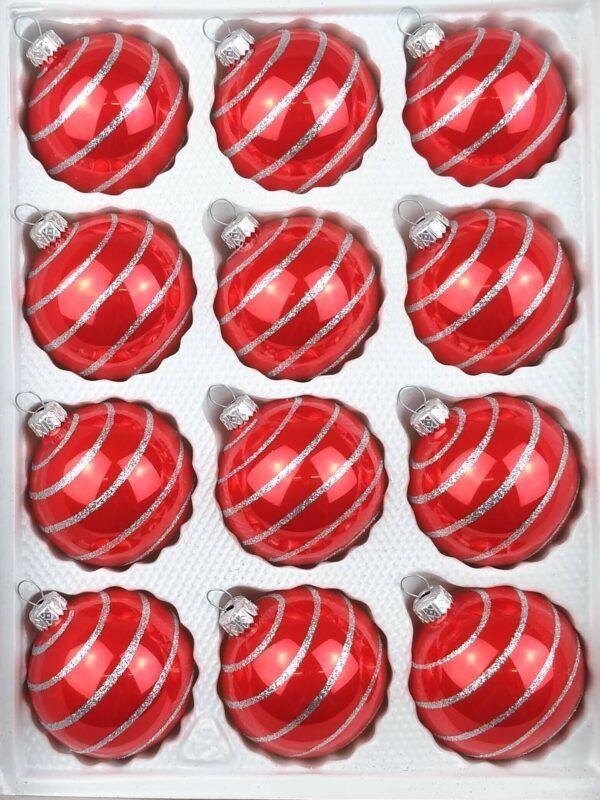 Hochglanz Rot Candy Silberne Spiralen