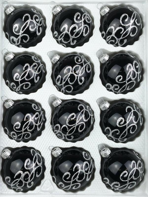 Hochglanz Schwarz Silberne Ornamente Gothic