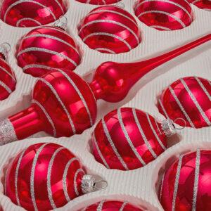 Hochglanz Rot Candy Silberne Spiralen Detail