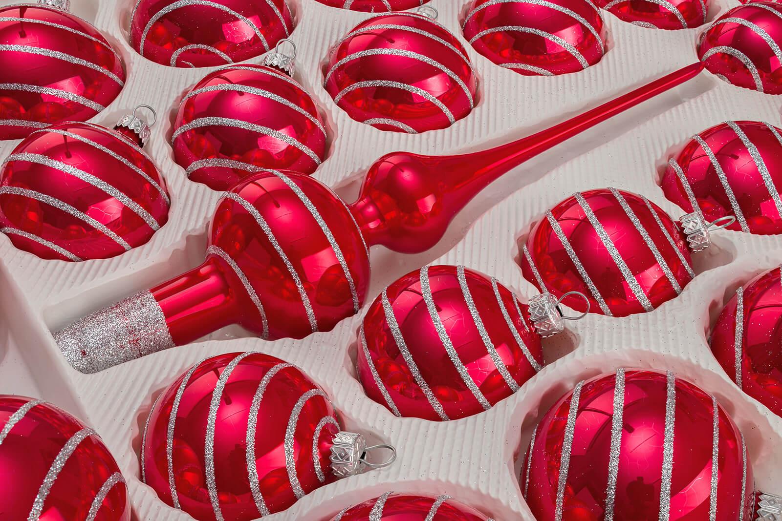 Christbaumkugeln Glas Rot Gold.Christbaumkugeln Glas Weihnachtskugeln Set In Rot