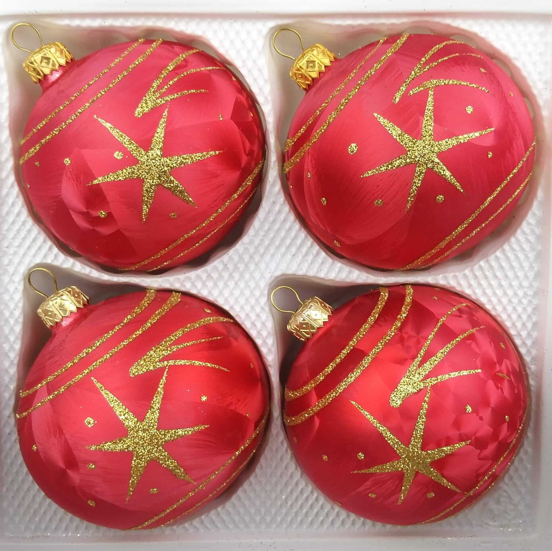 Weihnachtskugeln Rot Gold.4 Tlg Glas Weihnachtskugeln Set 10cm ø In Ice Rot Gold Komet