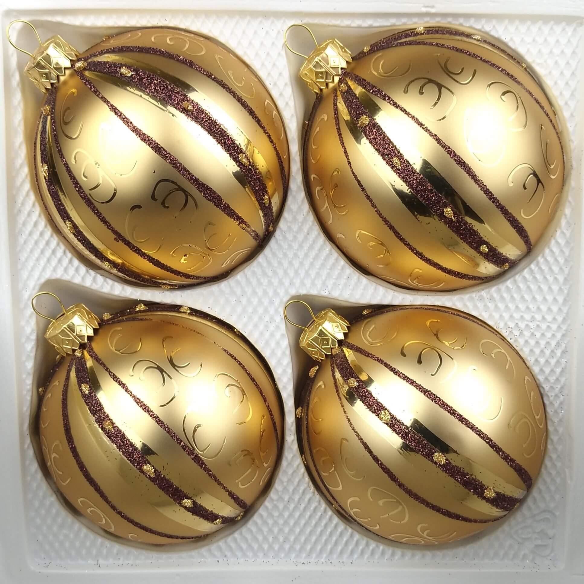 Christbaumkugeln 12 Cm Durchmesser.4 Tlg 12cm Glas Weihnachtskugeln Set 12cm O In Goldener Traum Spezial