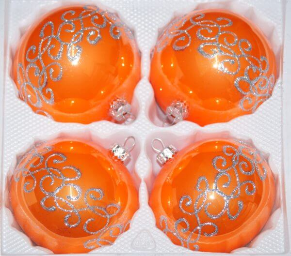 Hochglanz Orange Silberne Ornamente
