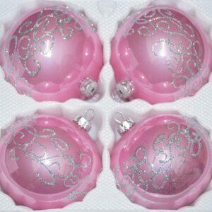 Hochglanz Rosa Silberne Ornamente