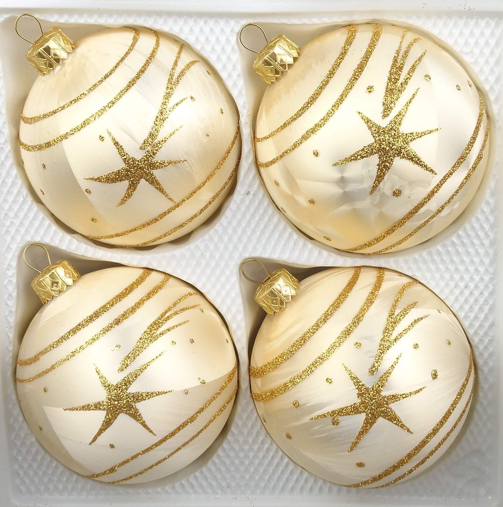 Christbaumkugeln 12 Cm Durchmesser.4 Tlg 12cm Glas Weihnachtskugeln Set 12cm O In Ice Champagner Gold Komet