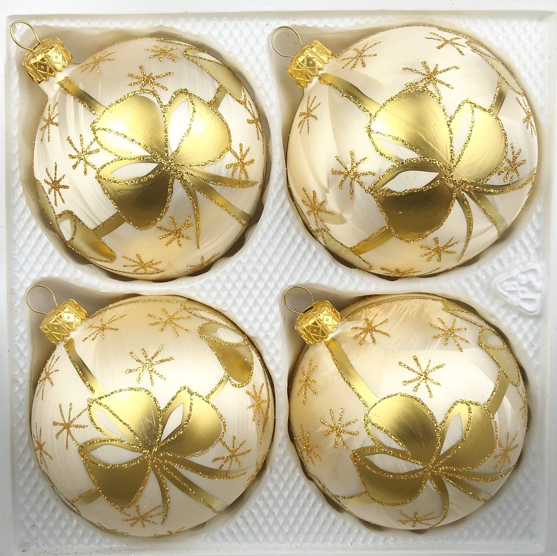 Christbaumkugeln Champagner Glas.4 Tlg Glas Weihnachtskugeln Set 10cm ø In Ice Champagner Goldene Schleife