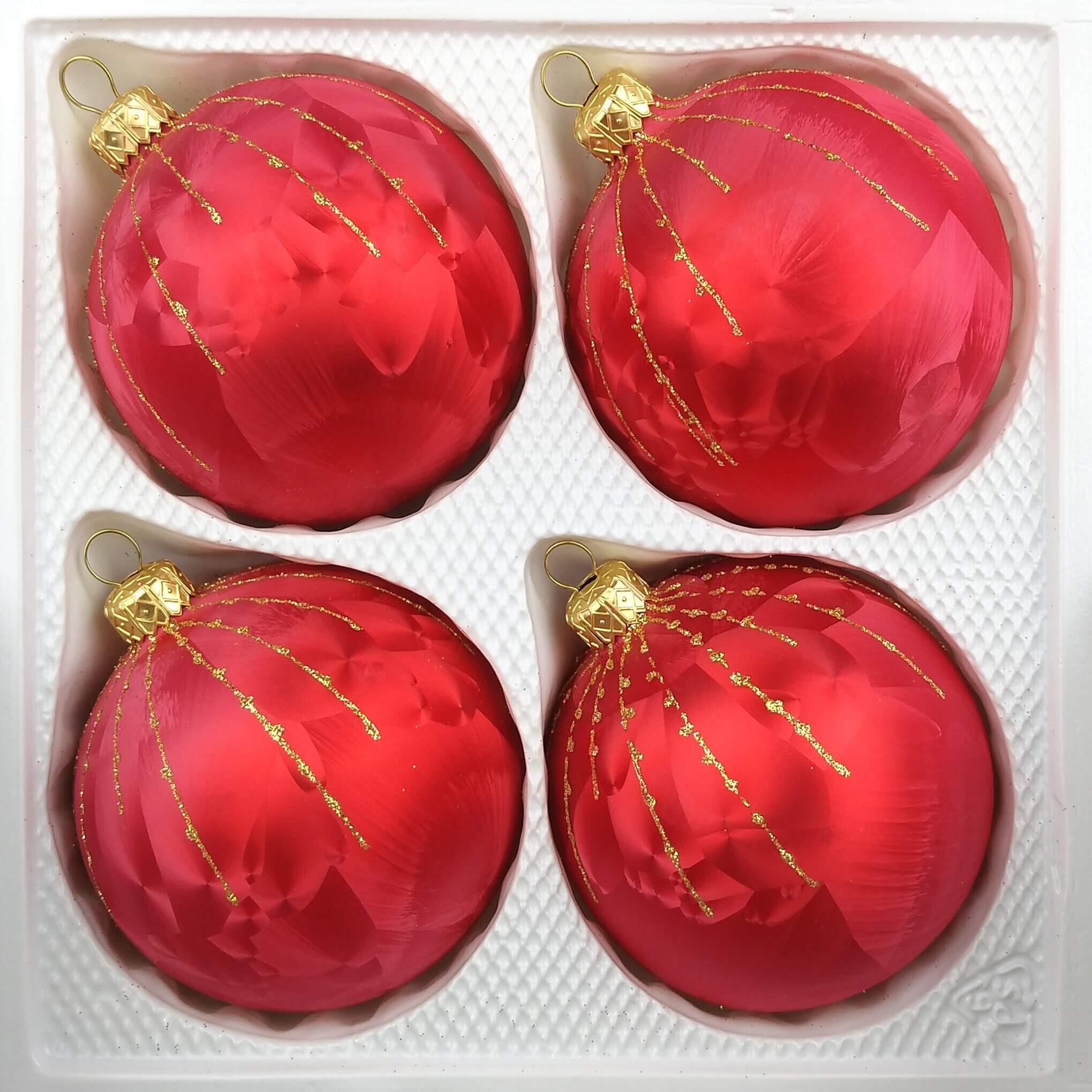 4 tlg 12cm glas weihnachtskugeln set 12cm in ice rot. Black Bedroom Furniture Sets. Home Design Ideas