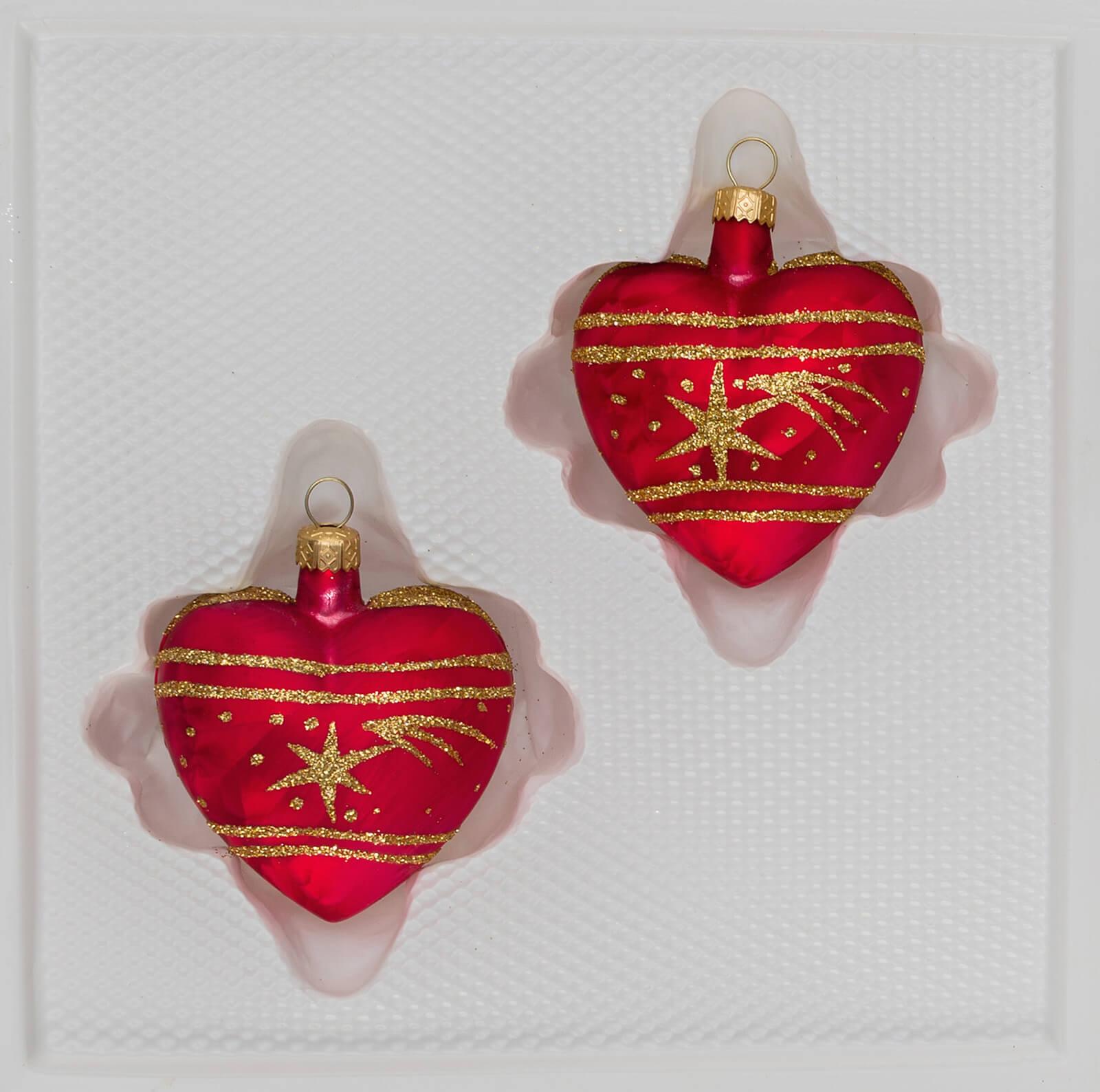 Christbaumkugeln Glas Rot Gold.2 Tlg Glas Herzen Set In Ice Rot Gold Komet