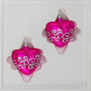 Hochglanz Pink Silberne Ornamente