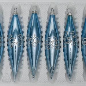 Hochglanz Blau Silberne Ornamente