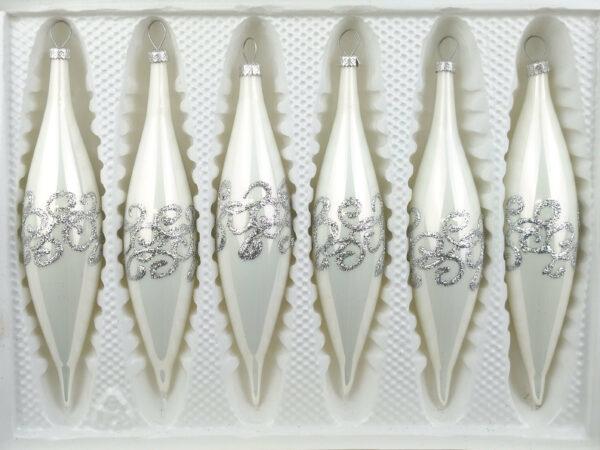 Hochglanz Weiss Silberen Ornamente
