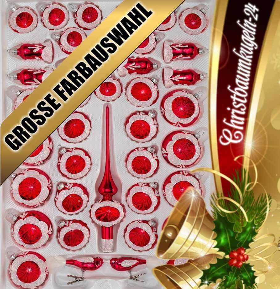 Christbaumkugeln Glas Rot Gold.Set In Glas Weihnachtskugeln Set Hochglanz 39 Vintage
