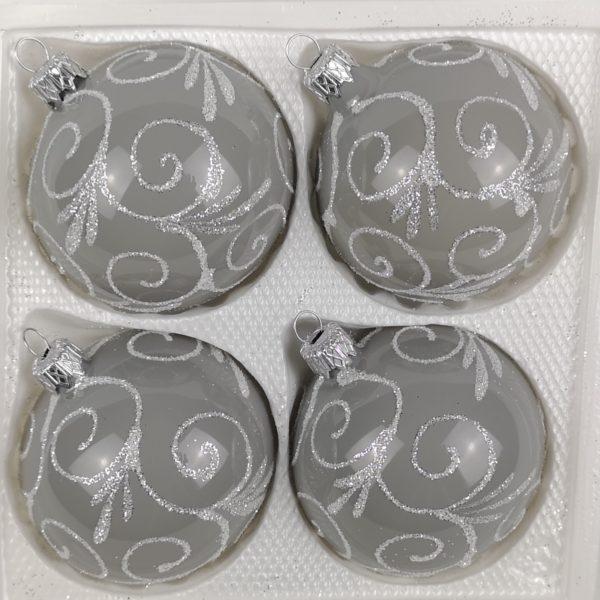 Hochglanz Grau Silberne Ornamente