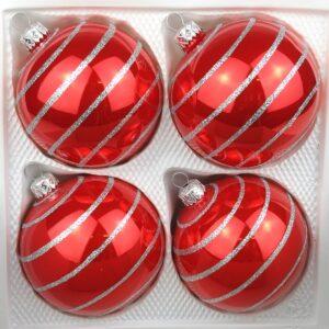 Hochglanz Rot Candy Silberne Spiralen Weihnachtskugel