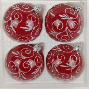 Hochglanz Modern Rot Weiße Ornamente
