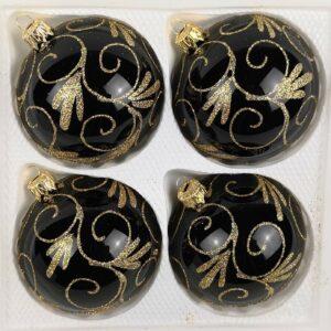 Weihnachtskugeln Hochglanz Schwarz Goldene Ornamente