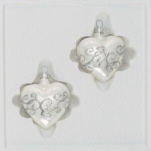 Hochglanz Weiss Silberne Ornamente