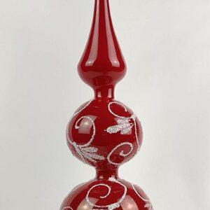 Weihnachtsbaumspitze Hochglanz Modern Rot Weiße Ornamente