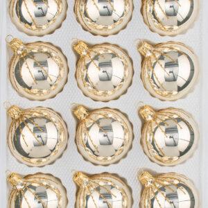 """12 tlg. Glas-Weihnachtskugeln Set in """"Chrom Champagner Gold"""" Regen Regen - Christbaumkugeln - Weihnachtsschmuck-Christbaumschmuck"""