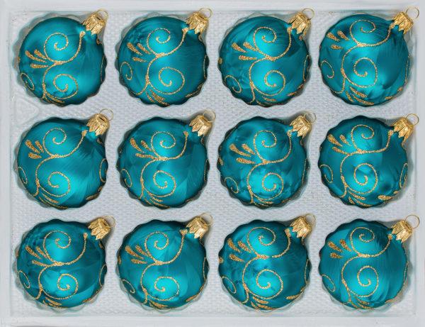 "12 tlg. Glas-Weihnachtskugeln Set in ""Ice Petrol-Türkis Goldene Ornamente"""