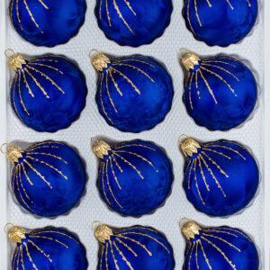 12 teiliges Christbaumkugeln Weihnachtskugeln Set Ice Royal Blau Regen Gold