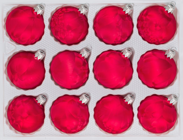 "12 tlg. Glas-Weihnachtskugeln Christbaumkugeln Set in ""Ice Rosa"" Eislack"