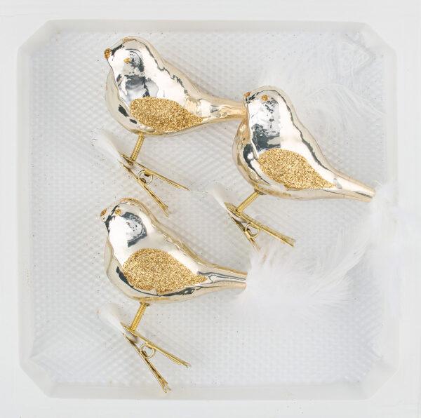 """3 tlg. Glas Vogel Set in """"Chrom Champagner Gold"""" - Christbaumkugeln - Weihnachtsschmuck-Christbaumschmuck"""