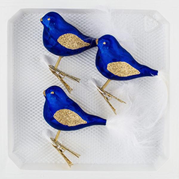 """3 teiliges Glas Vogel Set in """"Ice Royal Blau Gold Regen"""