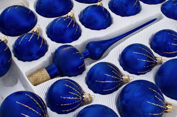 39 Christbaumkugeln Weihnachtskugeln Set Ice Royal Blau Blue Gold Regen Rain, Christmas balls