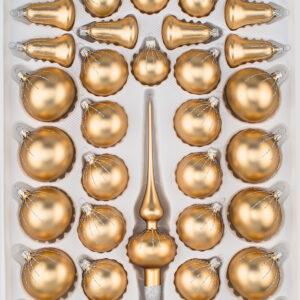 39 tlg. Glas-Weihnachtskugeln Set in Classic Gold Silber Regen - Christbaumkugeln - Weihnachtsschmuck-Christbaumschmuck