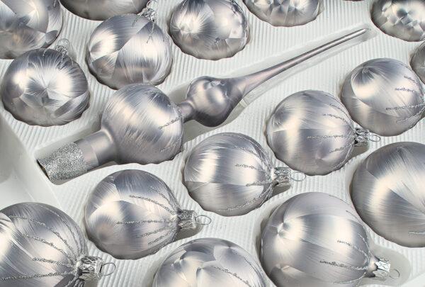 """39 tlg. Glas-Weihnachtskugeln Set in """"Ice Grau Silber"""" Regen - Christbaumkugeln - Weihnachtsschmuck-Christbaumschmuck"""