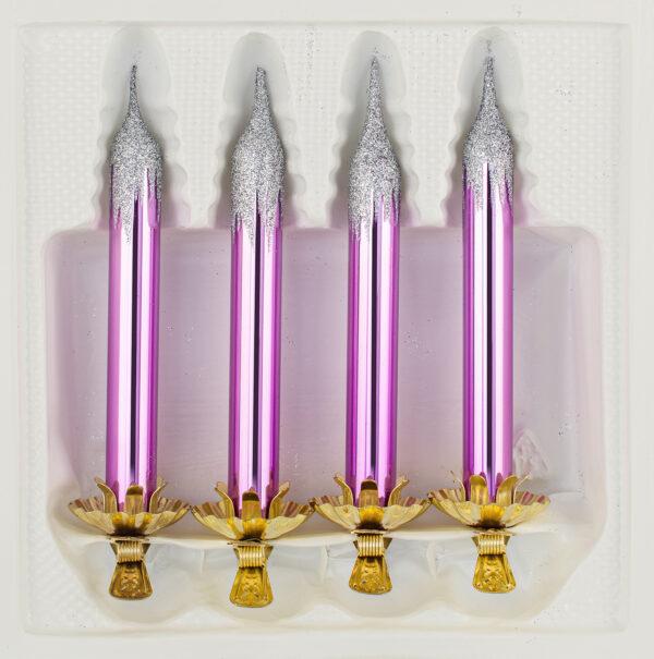 4 Baumkerzen aus Glas mit Clip Halter Candles Candle Hochglanz Lila Highgloss Lila Christbaumkerzen Christbaumschmuck