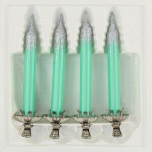 4 Baumkerzen aus Glas mit Clip Halter Candles Candle Hochglanz Minze Highgloss Mint Christbaumkerzen Christbaumschmuck