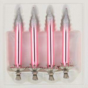 4 Baumkerzen aus Glas mit Clip Halter Candles Candle Hochglanz Rosa Highgloss Pink Christbaumkerzen Christbaumschmuck