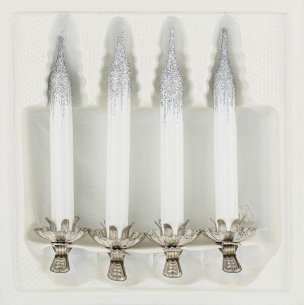 4 Baumkerzen aus Glas mit Clip Halter Candles Candle Hochglanz Weiss Highgloss White Christbaumkerzen Christbaumschmuck