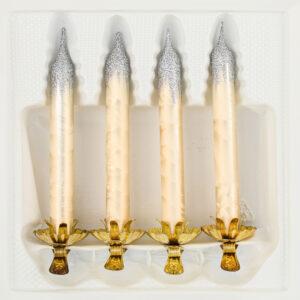 """christbaumkugeln-24.de - 4tlg. Glas-Baumkerzen Set in """"Ice Champagner Silber"""" - Weihnachtsbaumkerzen - Vintage Glas Kerzen Christbaumschmuck - Baumschmuck -"""