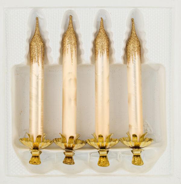 """christbaumkugeln-24.de - 4tlg. Glas-Baumkerzen Set in """"Ice Champagner Gold"""" - Weihnachtsbaumkerzen - Vintage Glas Kerzen Christbaumschmuck - Baumschmuck -"""