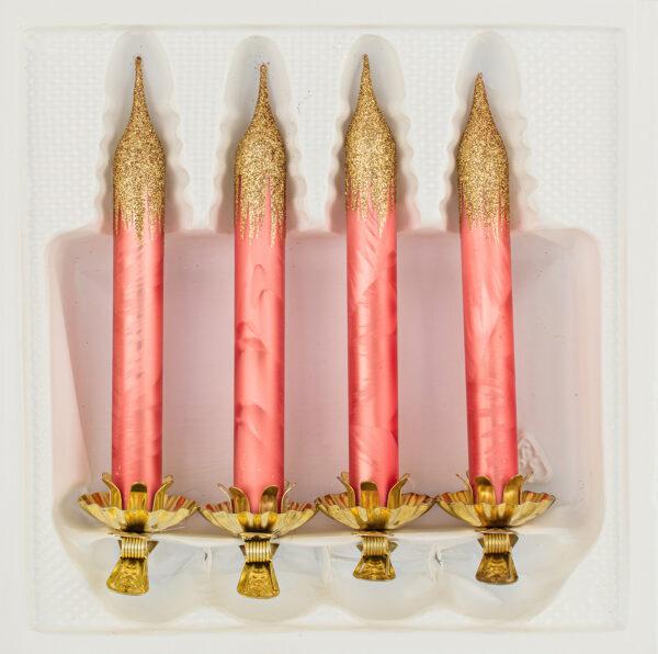 """4tlg. Glas-Baumkerzen Set in """"Ice Lachs Gold"""" - Weihnachtsbaumkerzen - Vintage Glas Kerzen Christbaumschmuck - Baumschmuck -"""