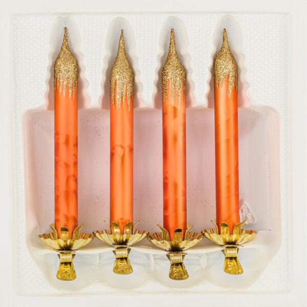 4 Baumkerzen aus Glas mit Clip Halter Candles Candle Ice Orange Gold Christbaumkerzen Christbaumschmuck