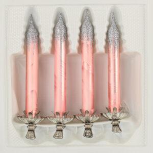 4 Baumkerzen aus Glas mit Clip Halter Candles Candle Ice Rosa Silber Christbaumkerzen Christbaumschmuck