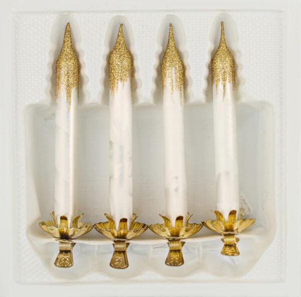 4 Baumkerzen aus Glas mit Clip Halter Candles Candle Ice Weiss Gold Christbaumkerzen Christbaumschmuck