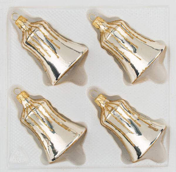 """4 tlg. Glas-Glocken Set in """"Chrom Champganer Gold"""" Regen - Christbaumkugeln - Weihnachtsschmuck-Christbaumschmuck"""