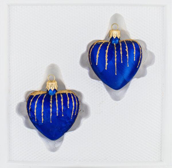 """2 tlg. Glas-Herzen Set in """"Ice Royal Blau Gold"""" Regen - Christbaumkugeln - Weihnachtsschmuck-Christbaumschmuck"""