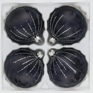 """4 Glas Weihnachtskugeln Christbaumkugeln Christmas Balls """"Ice Schwarz Silber"""" Regen Black Silver"""