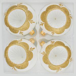 """4 tlg. Glas-Weihnachtskugeln Set 12cm Ø in """"Vintage Classic Weiss Gold"""" - Reflektorkugeln - Reflexkugeln - Reflector Ball - 12cm Durchmesser"""